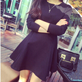 High Quality XXXL 2016  Autumn Women Dresses  Mini O-Neck Long Sleeve Black Short A-Line Dresses Elegant Winter Dress Plus Size