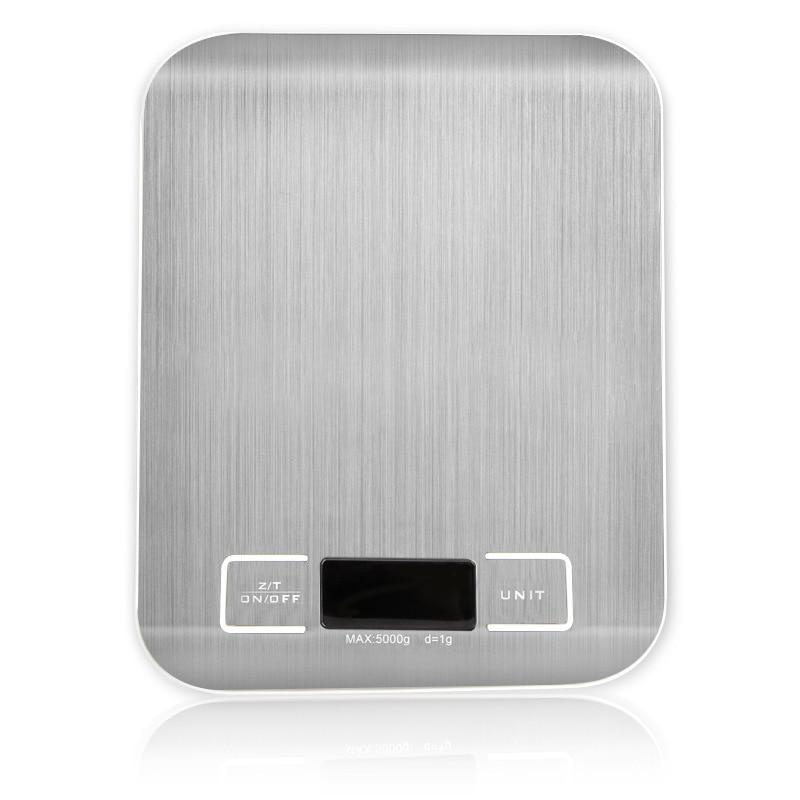 Серебряный цифровые весы 5 кг/10 кг/1g шкала веса Нержавеющаясталь весы Электронные измерительные инструменты светодиодный Дисплей Кухня весы-0