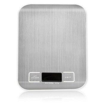 Серебряный цифровые весы 5 кг/10 кг/1g шкала веса Нержавеющаясталь весы Электронные измерительные инструменты светодиодный Дисплей Кухня весы