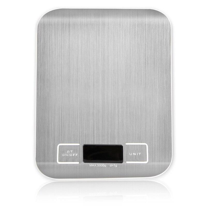 Escalas digitais de prata 5kg 10kg 1g pesos balança eletrônico aço inoxidável ferramentas de medida de equilíbrio display led cozinha balança libra
