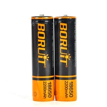 BORUiT Rechargeable 3.7V 18650 2200mAh Li ion Battery with PCB  for Headlamp and Flashlight