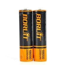 BORUiT şarj edilebilir 3.7V 18650 2200mAh Li ion pil için PCB ile far ve el feneri