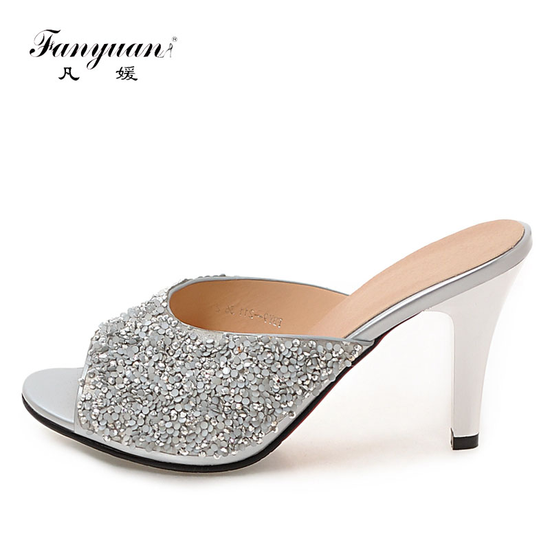 Fanyuan High Heels Slipper Sandals Shoes Woman Peep Toe Slip On Women Summer Slippers Sexy Ladies
