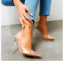 Female Pumps Pointed Toe High Heel Transparent Clear Stiletto Plexiglass Heeled Women Summer Shoes Banquet Dance