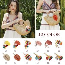 Ethnic Fashion Bag Accessories Ornament Keychain Handmade Cotton Woven Tassel Pendant Leaves Beads Conch Shell Bags Ornaments