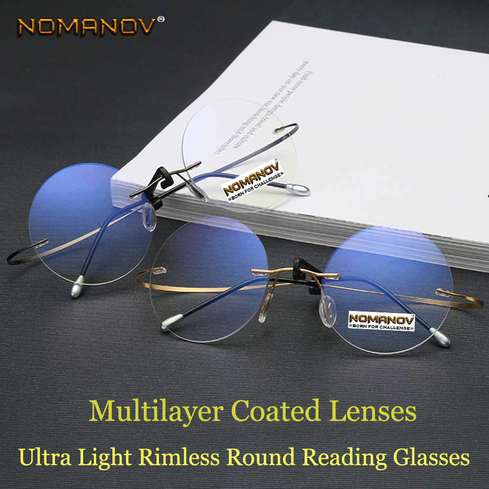 Round Reading Glasses Men Women Portable Rimless Ultra Light Frameless Frame Coated Lenses With Box +0.75 +1 +1.5 +1.75 +2 to +4