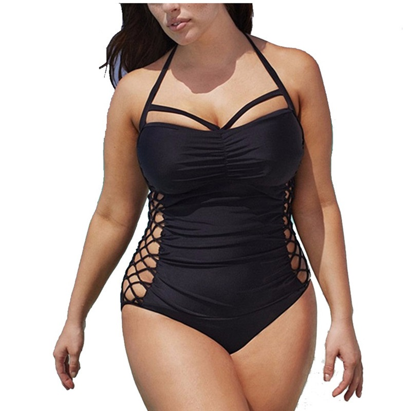 5XL Plus Size Swimwear Women One Piece 2018 Push Up Swimsuit Bandage Swimming Suit For Women Monokini Swim Suits Sexy Bathing