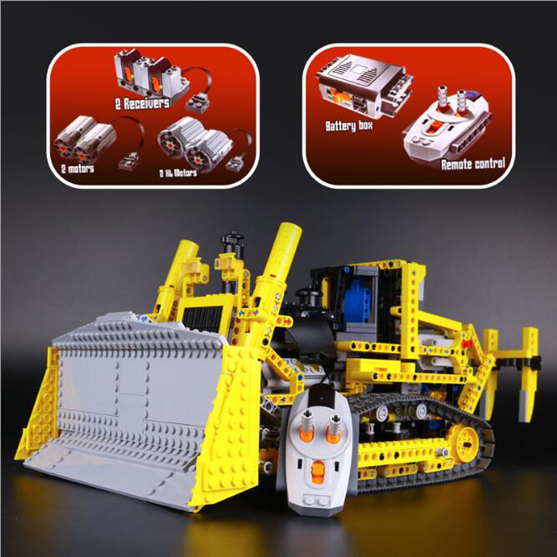 Technic Series Building Blocks Set RC Bulldozer Model Education 1384pcs Bricks Toys For Children Gifts Compatible Lepin 20008 lepin 70609 ninja series the manta ray bomber model building blocks set compatible education toys for children gifts