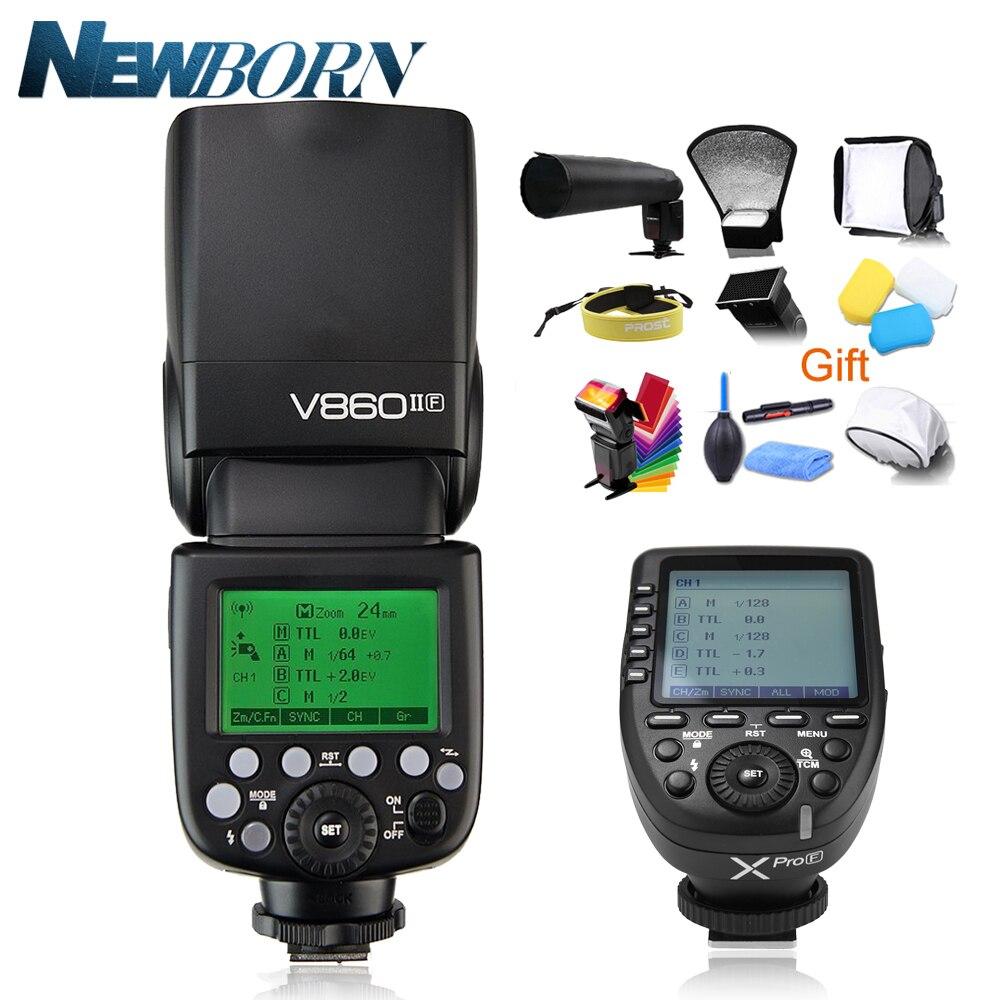 Godox V860II-F GN60 TTL HSS 1/8000 s Flash Speedlite w/Batteria Li-Ion + Xpro-F Trigger per Fujifilm X-Pro2/1 X-T20