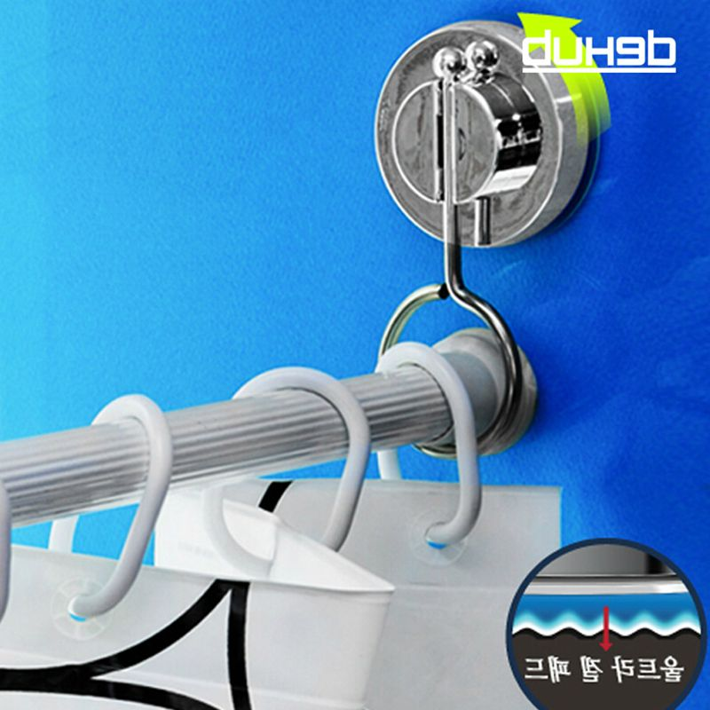 Vacuum Suction Cup Bathroom Rack Shower Curtain Rod Hanging Ring DEHUB Rods Stand Srong Cornices Silver In Decorative Accessories From
