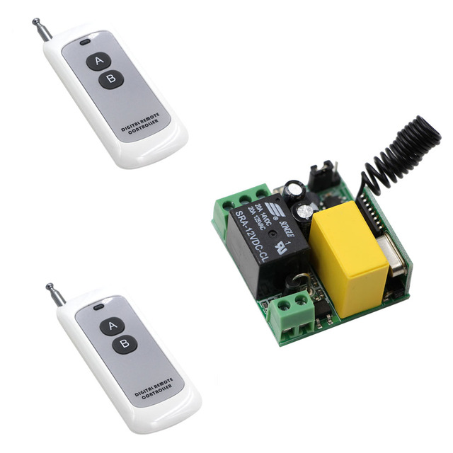 New RF Lamp LED Bulb Remote Lighting Switch 2Keys Transmitter With ...