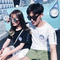 Korean Style Kawaii Embroidered Doraemon Pattern T Shirt Summer Harajuku BF Students Couples T Shirt Fashionable