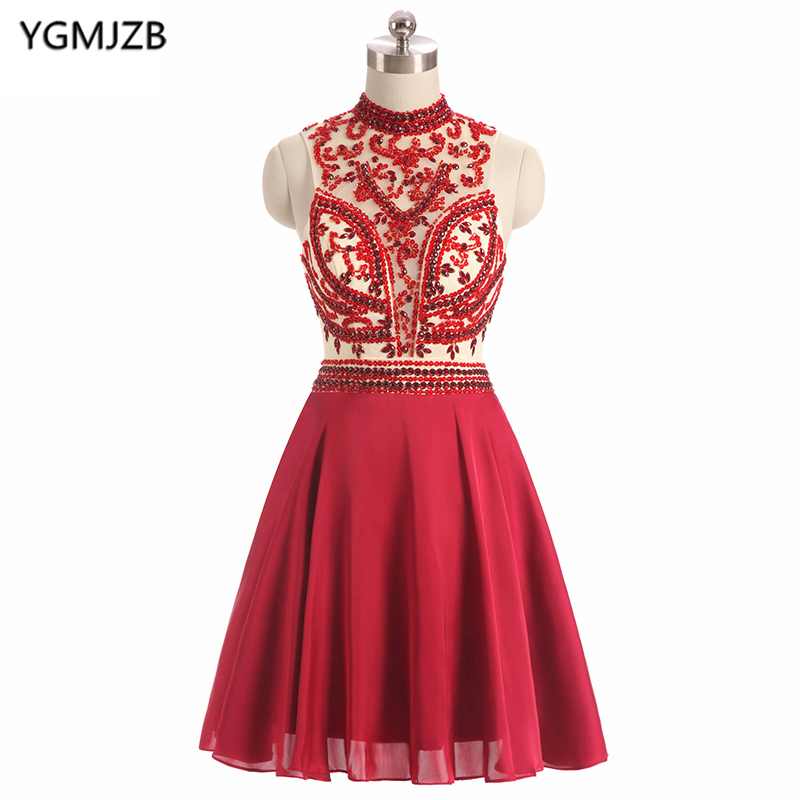 New Fashion Short   Cocktail     Dresses   2018 A Line High Neck Beaded Crystals Red Short   Dress   Open Back Party   Dress   Robe De   Cocktail