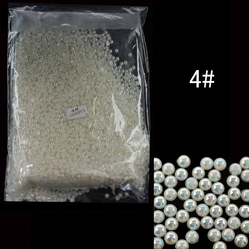 ABPearl4mm 10000pcs/lot  Nail Arts Beige AB Color Half  Round Pearl Beads 4mm Pearl Tips Stickers DIY Decorations realflame 10000 ab дровник