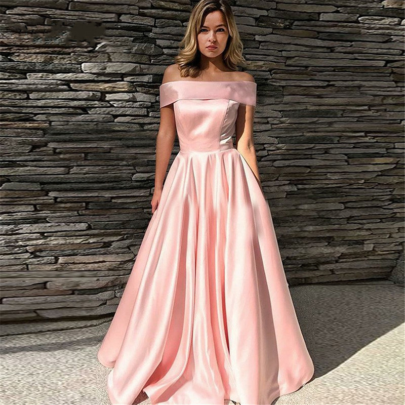 DZW722 Elegant Pink Satin Long   Evening     Dresses   2019 A-Line Boat Neck Off The Shoulder Women Formal Prom Gown Party   Dress