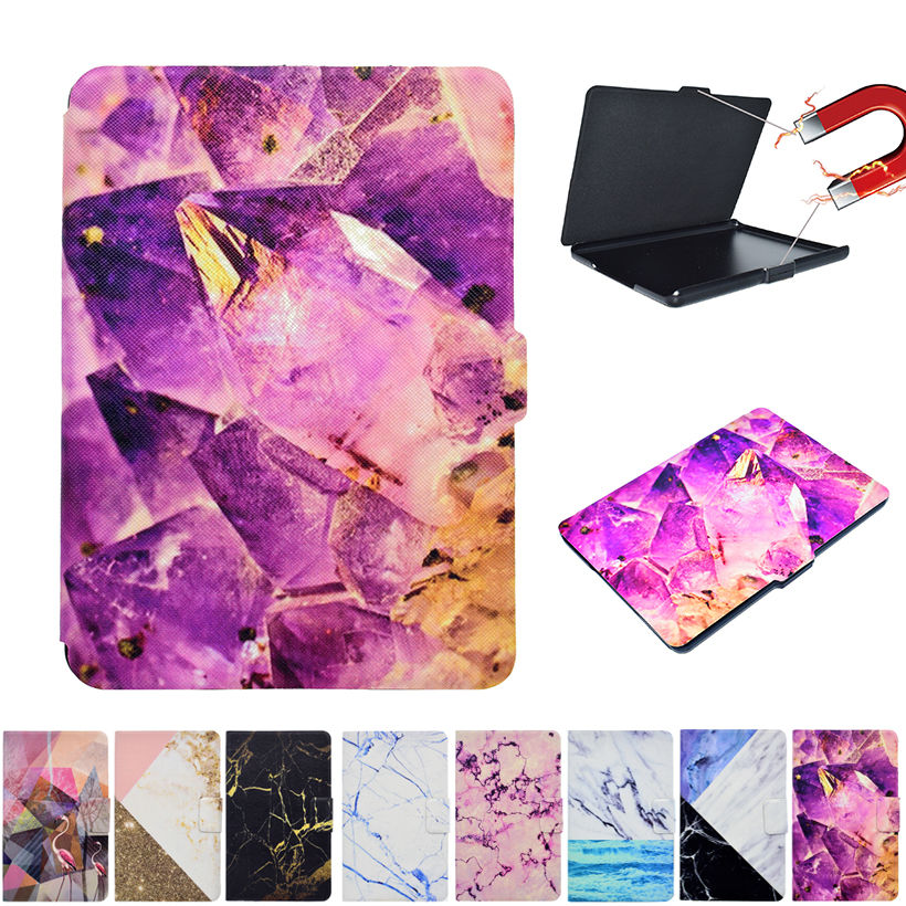Marble Pattern Flip Leather Case Cover for New Kindle 2016 8th Generation Funda for Amazon Kindle 8 Generation 2016 Sleep&Wake cartoon painted flower owl for kindle paperwhite 1 2 3 case flip bracket stand pu cover for amazon kindle paperwhite 1 2 3 case