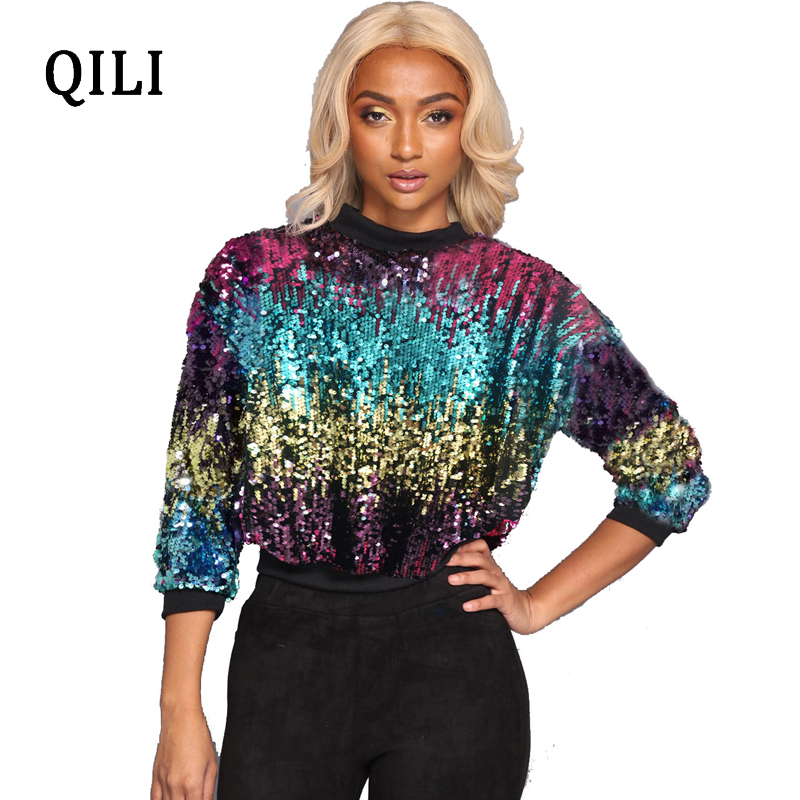 QILI Colorful Sequin T Shirt Women Top O neck Long Sleeve Casual T Shirt Womens Fashion Flash Sequined Female Blusas Autumn in T Shirts from Women 39 s Clothing