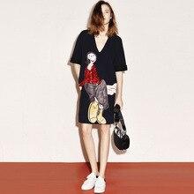 цены на 2019 New European American Women's Clothing Heavy Work Ugly Chick Embroidery Sequins Loose V Collar Short Sleeve Dress Women  в интернет-магазинах