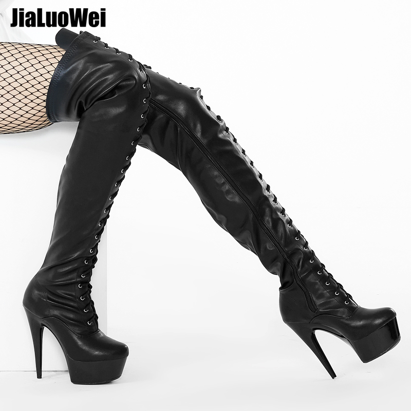 Jialuowei 15cm Ultra High Heel Stiletto Platform Thigh High Black Latex Lace Up Stripper Boots Heels Sexy Feitsh Shoes Plus Size