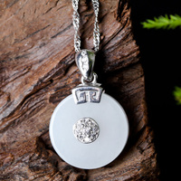 S925 Silver Jade Necklace Chinese Hand carved Hetian Jade Safety Button Pendant PingAnKou Necklace Lucky Amulet Fine Jewelry