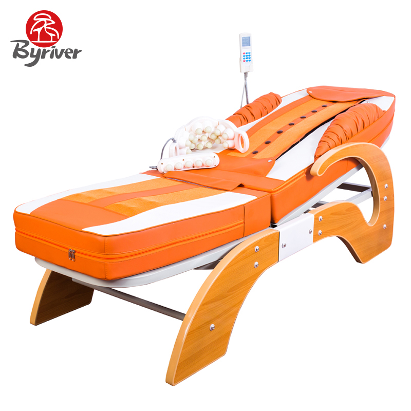 BYRIVER Full Body Far Infrared Heating Jade Stone Thermal Massage Bed Table Massager with Lift and Music Function pop relax electric vibrator jade massager light heating therapy natural jade stone body relax handheld massage device massager