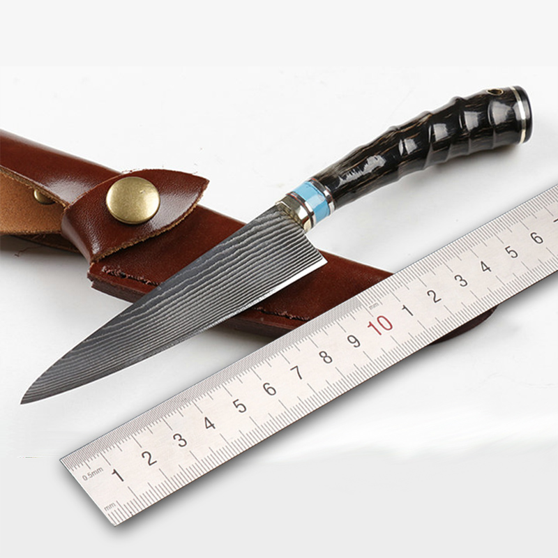 Free shipping Damascus steel kitchen knife Camping Hunting Tactical Survival Knife Fixed Blade sheep Angle Handle Sharp Edge free shipping handmade damascus steel hunting knife camping survival knife fixed blade tactical knife micah tower handle