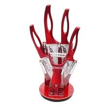 Neue Stil Rote Blume Klinge Küche Keramikmesser Gemüsemesser Obst dienstprogramm Chef Messer Ein Schäler Und Ein Messer Halter Zubehör Set