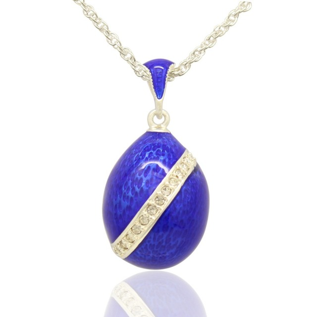 Suitable for european luxury brand necklace blue enamel classic suitable for european luxury brand necklace blue enamel classic faberge egg pendant necklace easter gift aloadofball Choice Image