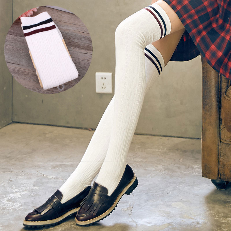 ac571b652 Cotton over knee socks South Korean students college school long tube thick  thigh high stockings silk striped stockings female-in Stockings from  Underwear ...