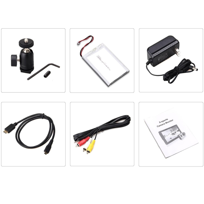 Lilliput MoPro7 DSLR камера с 2600 мАч встроенной батареей HDMI и AV вход специфический монитор для GoPro Hero 3 + 4 sony Canon Nikon - 6