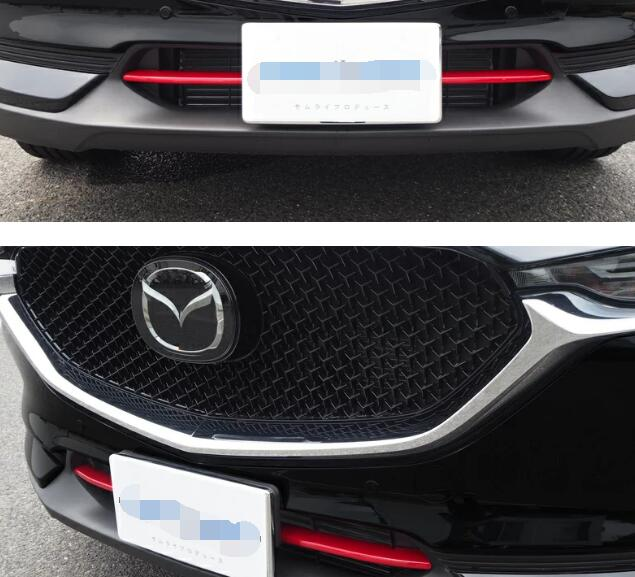 For <font><b>Mazda</b></font> CX-5 <font><b>CX5</b></font> CX-8 2017 <font><b>2018</b></font> <font><b>Bumper</b></font> grille trims Car body protection ABS chrome Grid Grill Grille Around panel hoods image