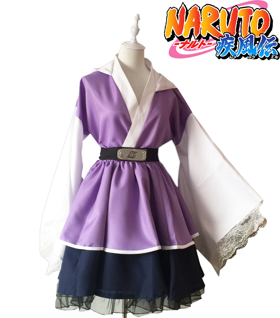 Free Shipping Naruto Shippuden Hyuga Hinata Lolita Kimono Dress Anime Cosplay Costume/Cosplay Wig lolita princess roll split cosplay costume wig 65cm chip on synthetic cos hair free shipping