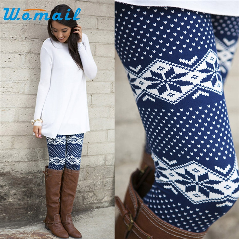 Newly Design Womens Fashion Geometric Snowflake Print Boot Leggings Winter Warm Skinny Pencil Pants 170726 Drop Shipping