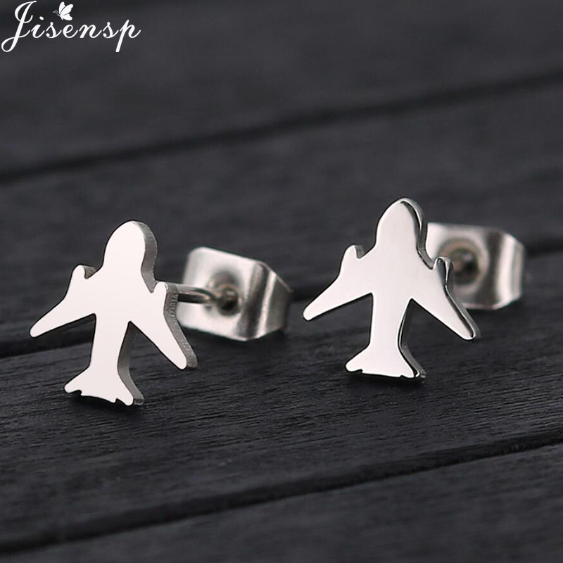 Jisensp Fashion Origami Airplane Earrings for Women Men Jewelry Birthday Gift Cute Aircraft Plane Stud Earring aretes de mujer image