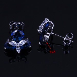 Image 4 - אלגנטי כחול מעוקב Zirconia לבן CZ 925 כסף סטרלינג תכשיטי סטי עגילי תליון שרשרת טבעת גודל 6 7 8 9 10 V0002