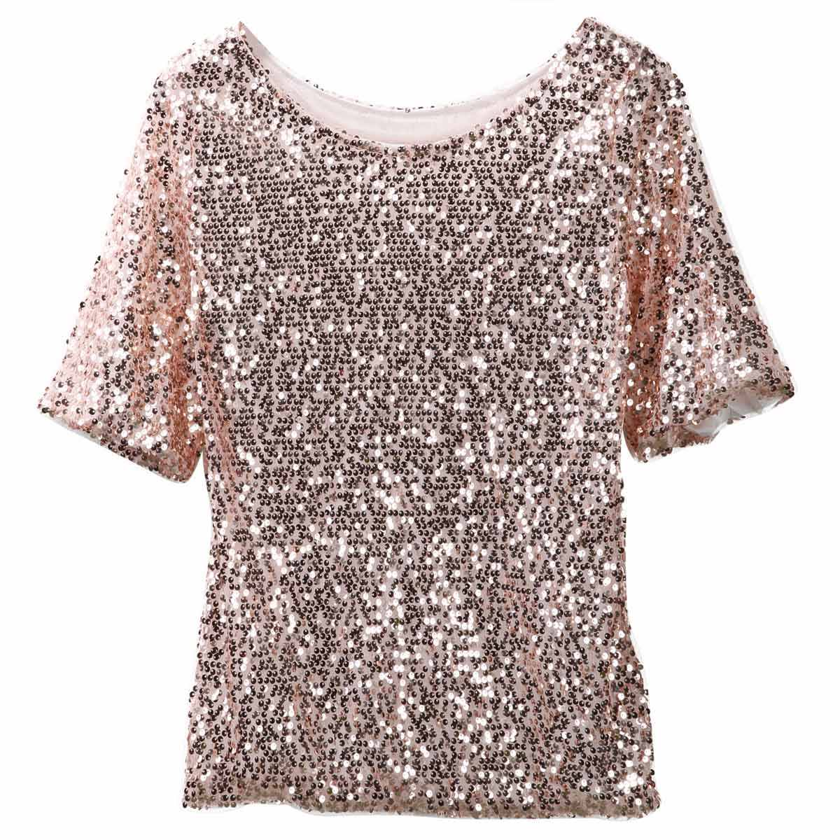 b2b03f80f7c Womens Lady Sequined Bling Shiny Casual Loose Shirt Off Shoulder female T- shirt for women