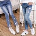 2016 de otoño de ropa para niños niñas pantalones vaqueros causales delgado denim baby girl jeans para niños niñas niños grandes vaqueros pantalones largos