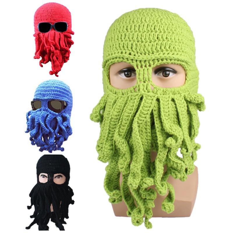 Men's winter hat 2017 Hot Unisex Octopus Pattern Winter Warm Knitted Wool Ski Face Mask Knit Hat Squid Cap Women's Winter Hats hot winter beanie knit crochet ski hat plicate baggy oversized slouch unisex cap