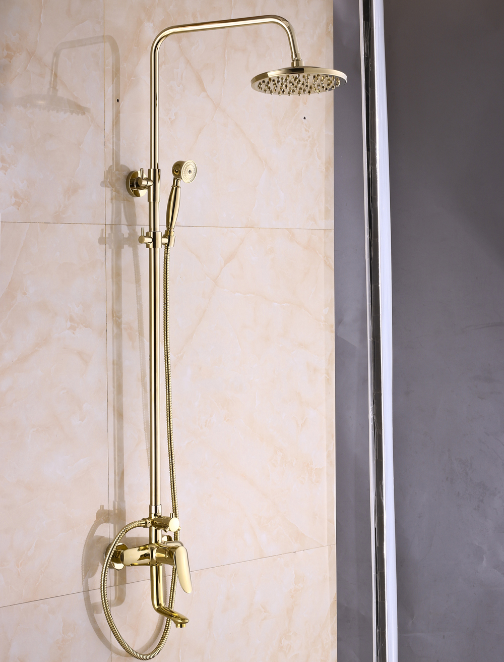 Rainfall Gold Brass Shower Faucet Set 8 inch Shower Head + ...