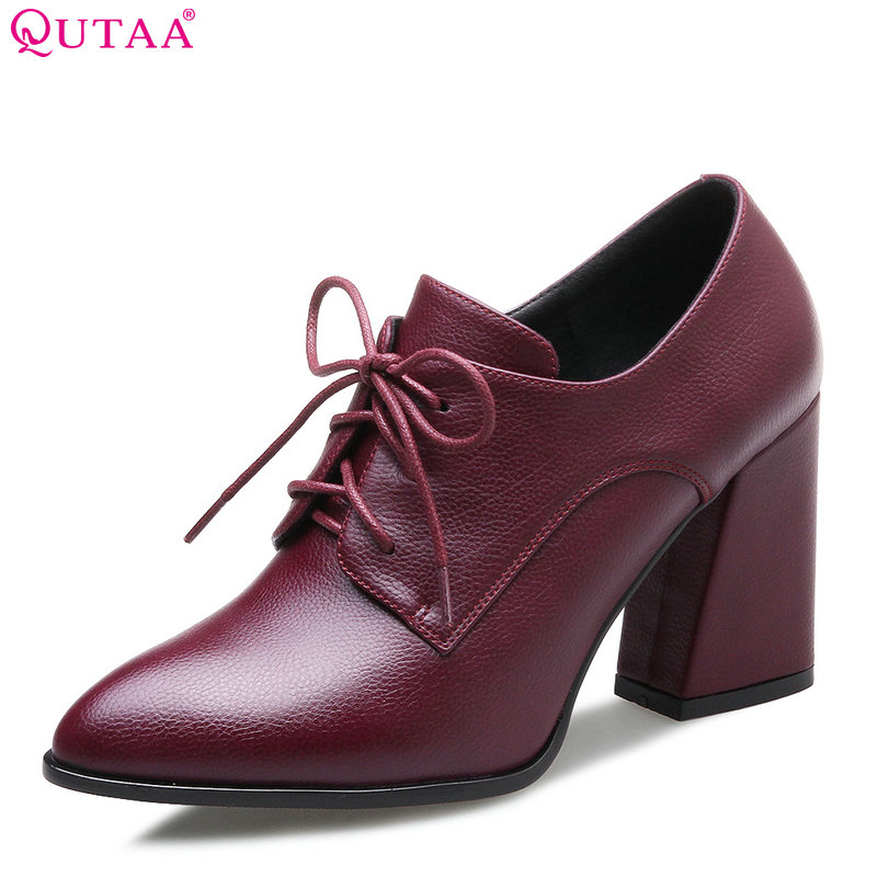QUTAA 2017 Women Pumps Lace Up  Pu Leather Black Fashion Square High Heel Pointed Toe All Match Elegent Ladies Pumps Size 34-42