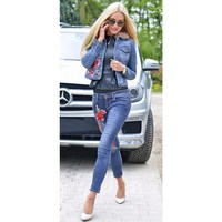 Autumn Two Piece Set Floral Embroidery Floral Denim Jackets And Jeans Pants Suit Women Long Sleeve
