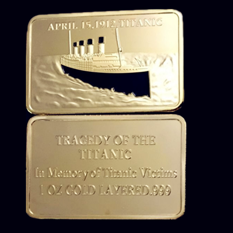 5 pcs A Titanic ship voyage memory badge Jack and Rose 24K