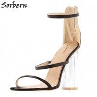 Sorbern شفافة السيدات الكعوب الكاحل الأشرطة الصنادل الصيفية النساء العرف الأحذية حجم 43 المفتوحة تو أحذية النساء 2018 جديد