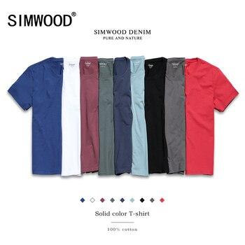 SIMWOOD 2018 новая футболка Для мужчин Slim Fit сплошной Цвет фитнес Повседневное топы из 100% хлопка удобные Высокое качество, Большие размеры TD017101