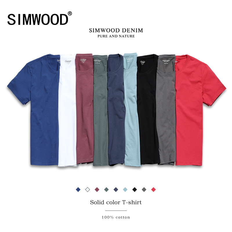 SIMWOOD 2018 New T Shirt Men Slim Fit Solid Color fitness Casual Tops 100%  Cotton Comfortable High Quality Plus Size TD017101 karen scott 6198 new womens yellow cotton solid pullover top shirt plus 1x bhfo