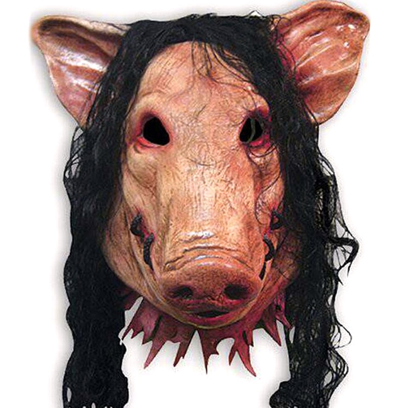 1PC Halloween Scary Masks Novelty Pig Head Horror with Hair Masks Caveira Cosplay Costume Realistic Latex Festival Supplies