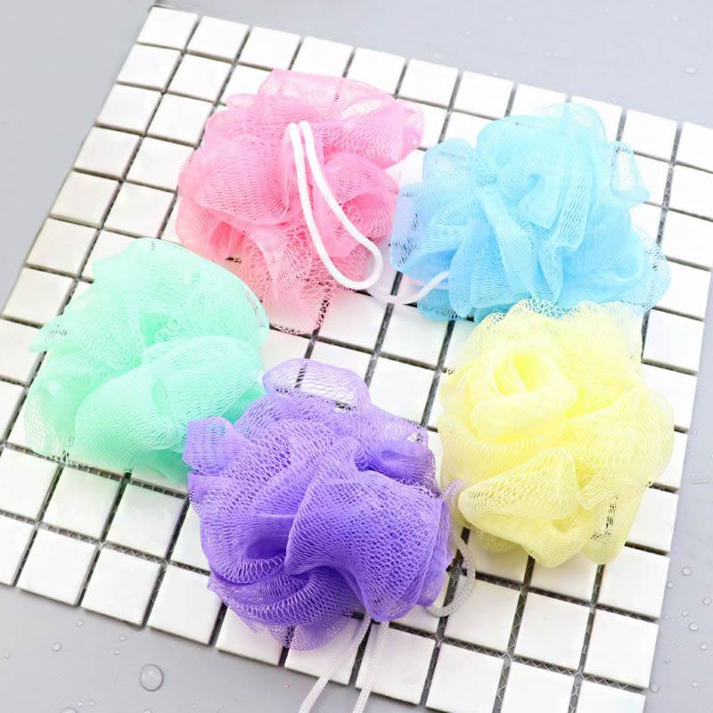 Hot!!! 1Pc Flower Mesh Bath Puff Body Exfoliating Massage Scrubber Shower Ball Sponge Beauty Bath Shower Random Color