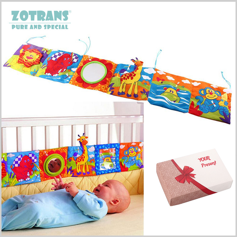 где купить Baby Crib bumper Baby Toys Baby Cloth Book Baby Rattles Knowledge Around Multi-Touch Colorful Bed Bumper for Kids toys 92*14CM по лучшей цене