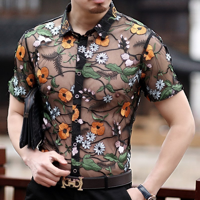 Flower Lace Shirt Embroidery See Through Shirt Men Chemise Homme Marque Luxe Mesh Transparent Shirt  Summer Short Sleeve Shirt