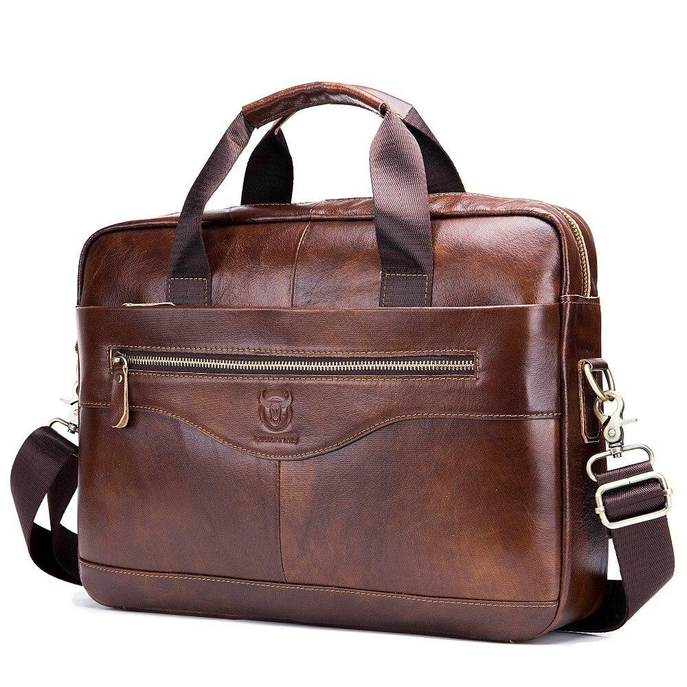 Genuine Leather Laptop Bag 14 Inch Men Briefcase Brown Black Man Shoulder Computer Bag Mens Bags For Work